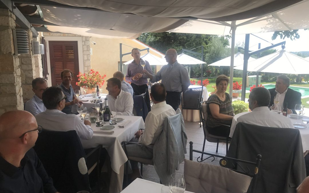 The members of the National Council of Wine Cities of Italy (Città del Vino d'Italia) met for lunch at San Rocco organized by the Ambassador of the City of Wine Tullio Fernetich